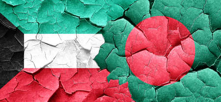 bangladesh: Kuwait flag with Bangladesh flag on a grunge cracked wall Stock Photo