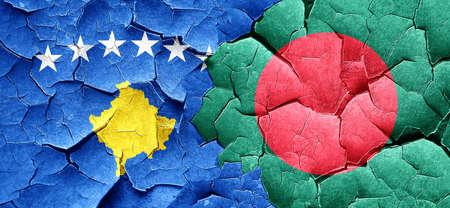 bangladesh: Kosovo flag with Bangladesh flag on a grunge cracked wall