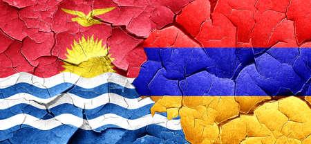 kiribati: Kiribati flag with Armenia flag on a grunge cracked wall