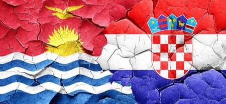 croatia flag: Kiribati flag with Croatia flag on a grunge cracked wall