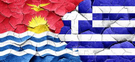 kiribati: Kiribati flag with Greece flag on a grunge cracked wall