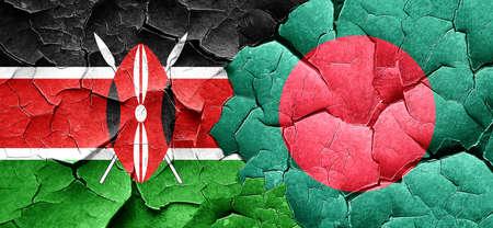 bangladesh: Kenya flag with Bangladesh flag on a grunge cracked wall