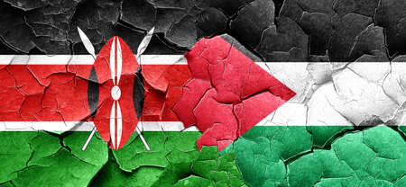 palestine: Kenya flag with Palestine flag on a grunge cracked wall
