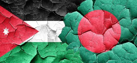 bangladesh: Jordan flag with Bangladesh flag on a grunge cracked wall
