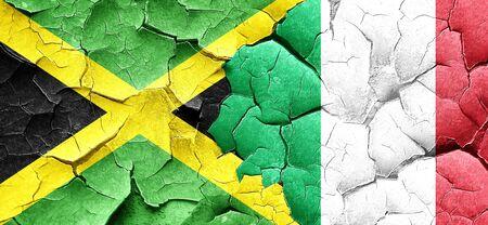 italian politics: Jamaica flag with Italy flag on a grunge cracked wall
