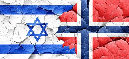 norway flag: Israel flag with Norway flag on a grunge cracked wall Stock Photo