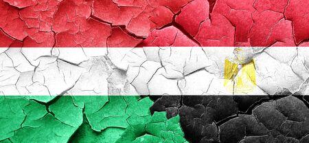 bandera egipto: bandera de Hungría con la bandera de Egipto en una pared agrietada grunge