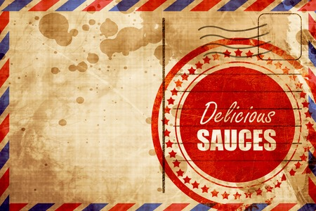 sauces: Delicious sauces sign with some soft smooth lines
