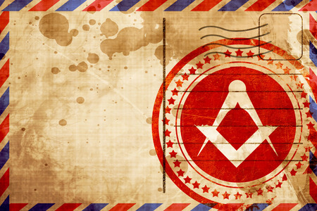 freemasonry: Masonic freemasonry symbol with some soft smooth lines, red grunge stamp on an airmail background