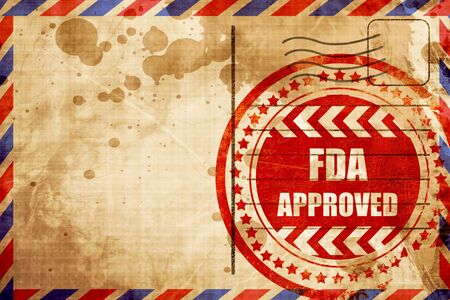 endorse: FDA approved background with some smooth lines, red grunge stamp on an airmail background Stock Photo