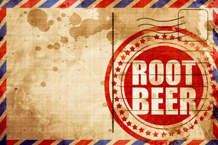 root beer: root beer, red grunge stamp on an airmail background