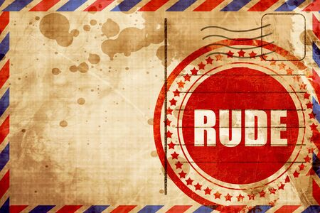 cranky: rude, red grunge stamp on an airmail background Stock Photo