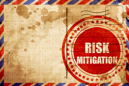 mitigation: Risk mitigation sign with some smooth lines and highlights, red grunge stamp on an airmail background