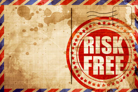 risk free: risk free, red grunge stamp on an airmail background