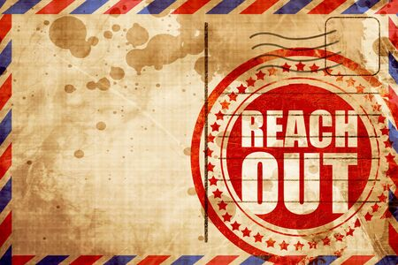 reach out: reach out, red grunge stamp on an airmail background Stock Photo