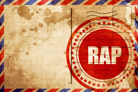 airmail stamp: rap music, red grunge stamp on an airmail background