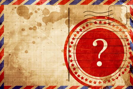 airmail stamp: question mark, red grunge stamp on an airmail background Stock Photo