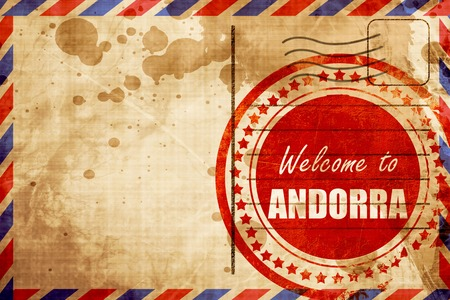 tourism in andorra: Welcome to andorra card with some soft highlights, red grunge stamp on an airmail background Stock Photo