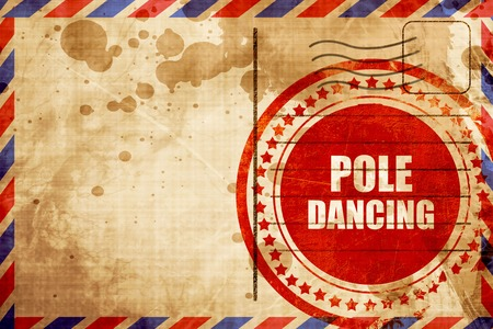 pole dancing: pole dancing sign background with some soft smooth lines, red grunge stamp on an airmail background