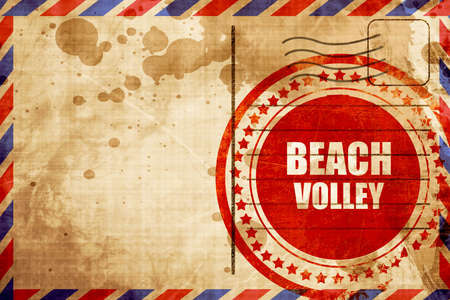 beach volley: beach volley sign with some soft smooth lines, red grunge stamp on an airmail background