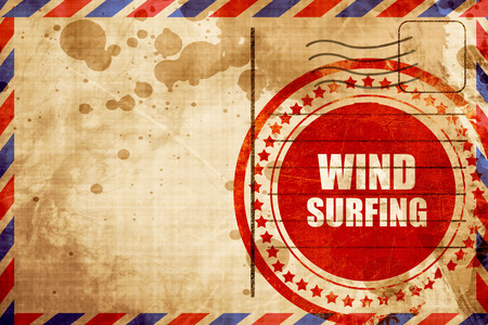 wind surfing: wind surfing sign background with some soft smooth lines, red grunge stamp on an airmail background