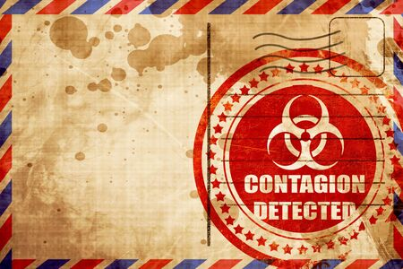 contagion: contagion concept background with some soft smooth lines, red grunge stamp on an airmail background