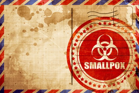 smallpox: smallpox concept background with some soft smooth lines, red grunge stamp on an airmail background