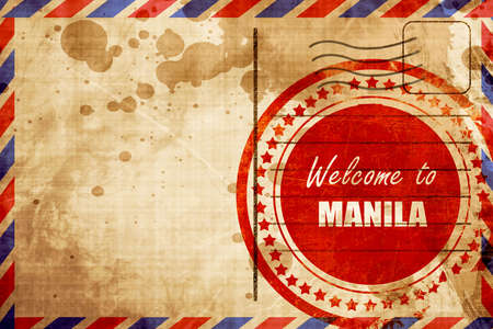 air travel: Welcome to manila with some smooth lines, red grunge stamp on an airmail background Stock Photo
