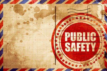 public safety: public safety, red grunge stamp on an airmail background Stock Photo