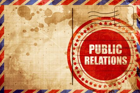 relaciones p�blicas: relaciones p�blicas, grunge sello rojo sobre un fondo de correo a�reo Foto de archivo