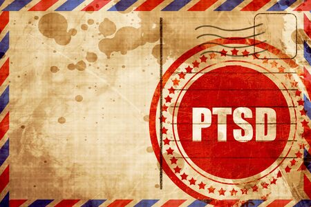 tearful: ptsd, red grunge stamp on an airmail background