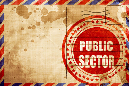 public sector: public sector, red grunge stamp on an airmail background