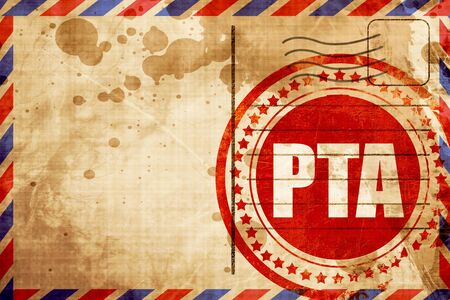 pta, red grunge stamp on an airmail background