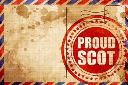 wallace: proud scot, red grunge stamp on an airmail background