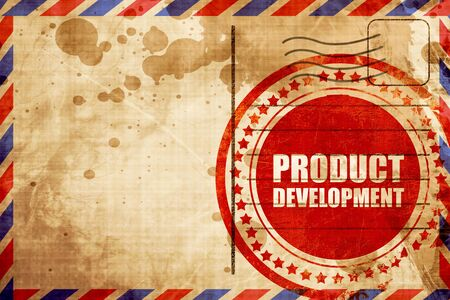 commercialization: product development, red grunge stamp on an airmail background Stock Photo