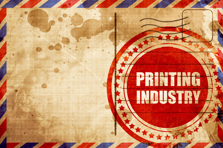 printing industry: printing industry, red grunge stamp on an airmail background