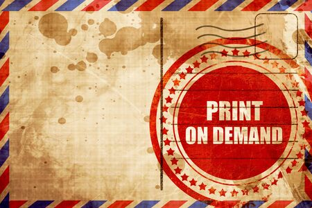 print on demand, red grunge stamp on an airmail background