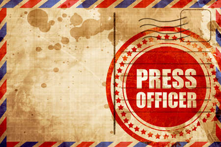 suspenso: jefe de prensa, grunge sello rojo sobre un fondo de correo aéreo Foto de archivo