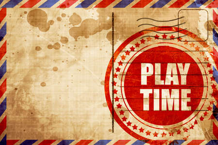 play time: play time, red grunge stamp on an airmail background Stock Photo
