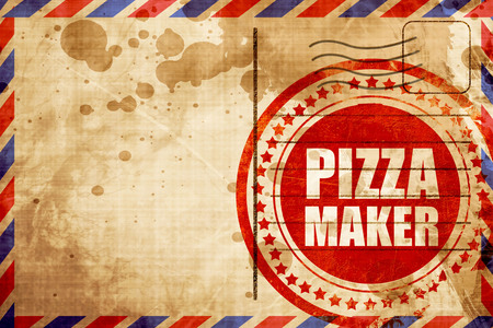 pizza maker: pizza maker, red grunge stamp on an airmail background