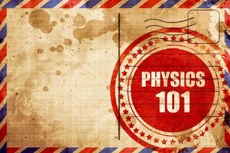 airmail: physics 101, red grunge stamp on an airmail background Stock Photo