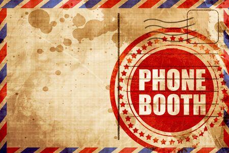 cabina telefonica: cabina telef�nica, grunge sello rojo sobre un fondo de correo a�reo Foto de archivo
