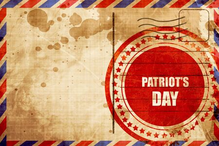airmail stamp: patriots day, red grunge stamp on an airmail background