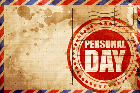 mail me: personal day, red grunge stamp on an airmail background