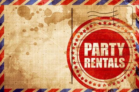 rentals: party rentals, red grunge stamp on an airmail background Stock Photo