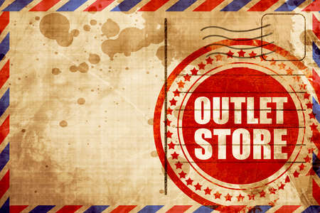 outlet store: outlet store, red grunge stamp on an airmail background