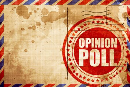poll: opinion poll, red grunge stamp on an airmail background Stock Photo