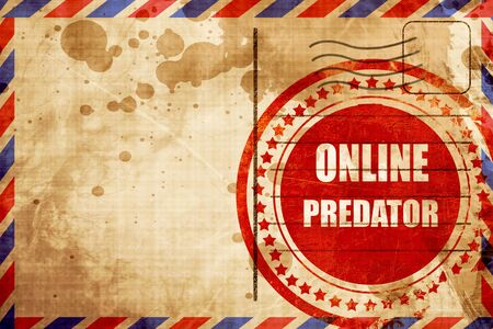 online predator background with some smooth lines, red grunge stamp on an airmail background Stock Photo
