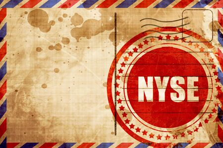 nyse: nyse, red grunge stamp on an airmail background