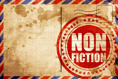 non: non fiction, red grunge stamp on an airmail background